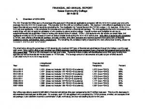 FINANCIAL AID ANNUAL REPORT Itasca Community College