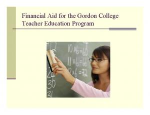 Financial Aid for the Gordon College Teacher Education Program