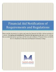 Financial Aid Notification of Requirements and Regulations