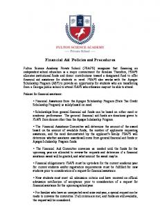 Financial Aid Policies and Procedures