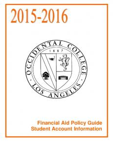 Financial Aid Policy Guide Student Account Information