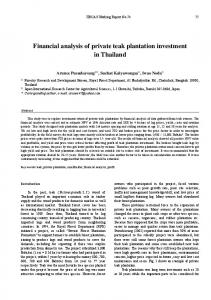 Financial analysis of private teak plantation investment in Thailand