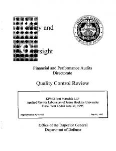 Financial and Performance Audits Directorate. Quality Control Review