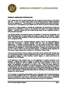FINANCIAL ASSISTANCE PROGRAM (FAP)
