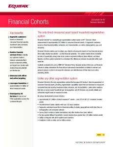Financial Cohorts. The only direct-measured asset-based household segmentation system. Key benefits. Unlike any other segmentation system