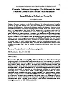 Financial Crisis and Contagion: The Effects of the 2008 Financial Crisis on the Turkish Financial Sector