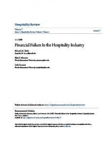 Financial Failure In the Hospitality Industry