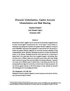 Financial Globalization, Capital Account Liberalization and Risk Sharing