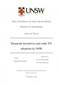 Financial incentives and solar PV