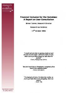 Financial Inclusion for the Homeless: A Report on User Consultation