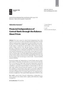 Financial Independence of Central Bank through the Balance Sheet Prism