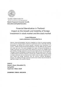 Financial liberalization in Thailand: Impact on the Growth and Volatility of foreign investment in stock market and the stock market