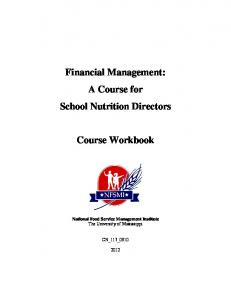 Financial Management: A Course for School Nutrition Directors. Course Workbook