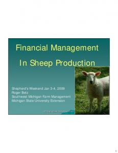 Financial Management In Sheep Production