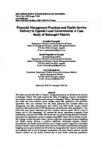 Financial Management Practices and Health Service Delivery in Uganda Local Governments: A Case Study of Rukungiri District