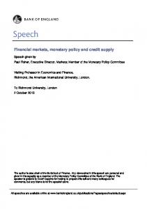 Financial markets, monetary policy and credit supply