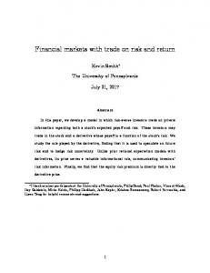Financial markets with trade on risk and return