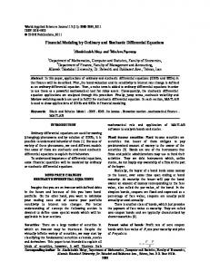 Financial Modeling by Ordinary and Stochastic Differential Equations