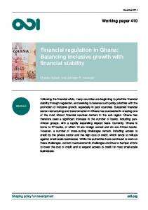 Financial regulation in Ghana: Balancing inclusive growth with financial stability