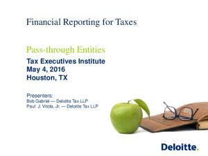 Financial Reporting for Taxes