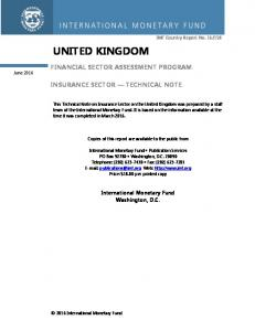 FINANCIAL SECTOR ASSESSMENT PROGRAM INSURANCE SECTOR TECHNICAL NOTE