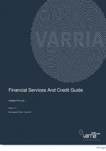 Financial Services And Credit Guide VARRIA PTY LTD. Version: 1.0