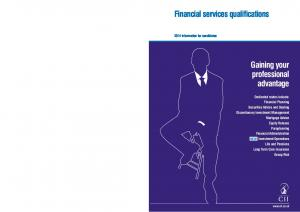 Financial services qualifications. Gaining your professional advantage. NEW Investment Operations Information for candidates