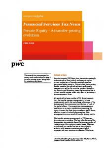 Financial Services Tax News Private Equity - A transfer pricing evolution