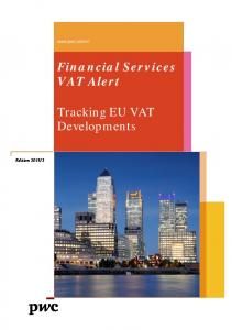 Financial Services VAT Alert. Tracking EU VAT Developments