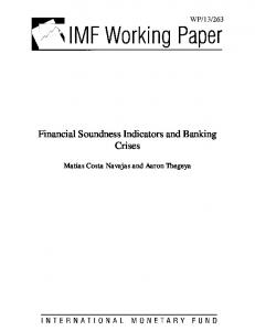 Financial Soundness Indicators and Banking Crises