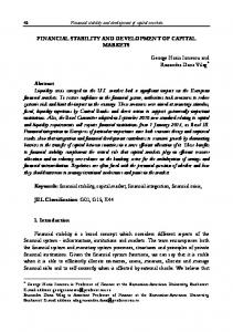 Financial stability and development of capital markets FINANCIAL STABILITY AND DEVELOPMENT OF CAPITAL MARKETS