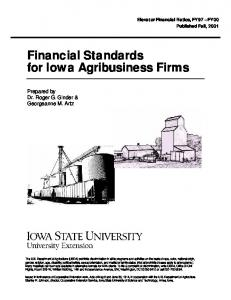Financial Standards for Iowa Agribusiness Firms