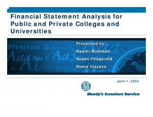 Financial Statement Analysis for Public and Private Colleges and Universities