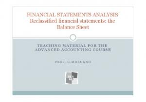 FINANCIAL STATEMENTS ANALYSIS Reclassified financial statements: the Balance Sheet