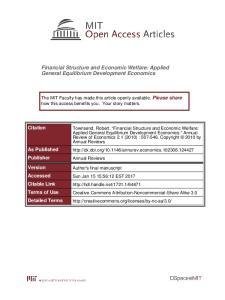 Financial Structure and Economic Welfare: Applied General Equilibrium Development Economics