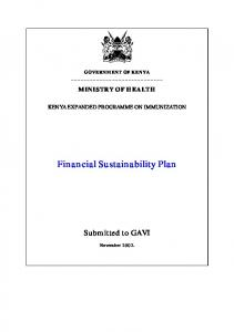 Financial Sustainability Plan