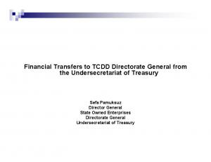 Financial Transfers to TCDD Directorate General from