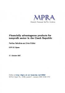 Financially advantageous products for nonprofit sector in the Czech Republic