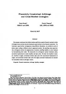 Financially Constrained Arbitrage and Cross-Market Contagion