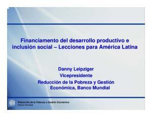 Financiamento del desarrollo productivo e