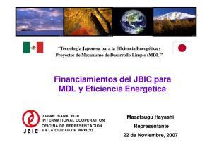 Financiamientos del JBIC para MDL y Eficiencia Energetica