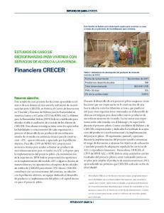 Financiera CRECER ESTUDIOS DE CASO DE MICROFINANZAS PARA VIVIENDA CON SERVICIOS DE ACCESO A LA VIVIENDA: