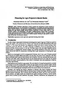 Financing for Agro Projects in Islamic Banks