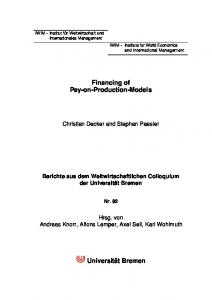 Financing of Pay-on-Production-Models