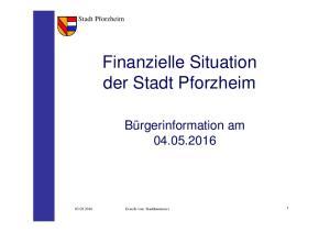 Finanzielle Situation der Stadt Pforzheim