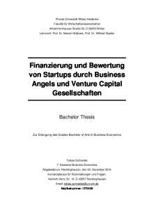 Finanzierung und Bewertung von Startups durch Business Angels und Venture Capital Gesellschaften