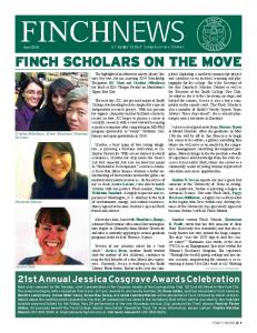 FINCH SCHOLARS ON THE MOVE