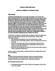 Finchley Catholic High School. Behaviour, Discipline and Exclusions Policy