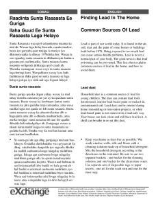 Finding Lead In The Home. Raadinta Sunta Rasaasta Ee Guriga Ilaha Guud Ee Sunta Rasaasta Laga Helayo. Common Sources Of Lead SOMALI ENGLISH