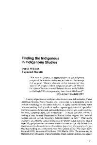 Finding the Indigenous in Indigenous Studies